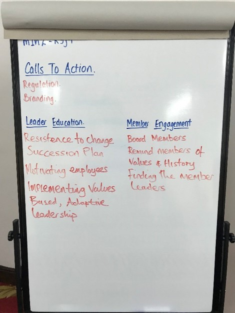 Flipchart with notes about call to action