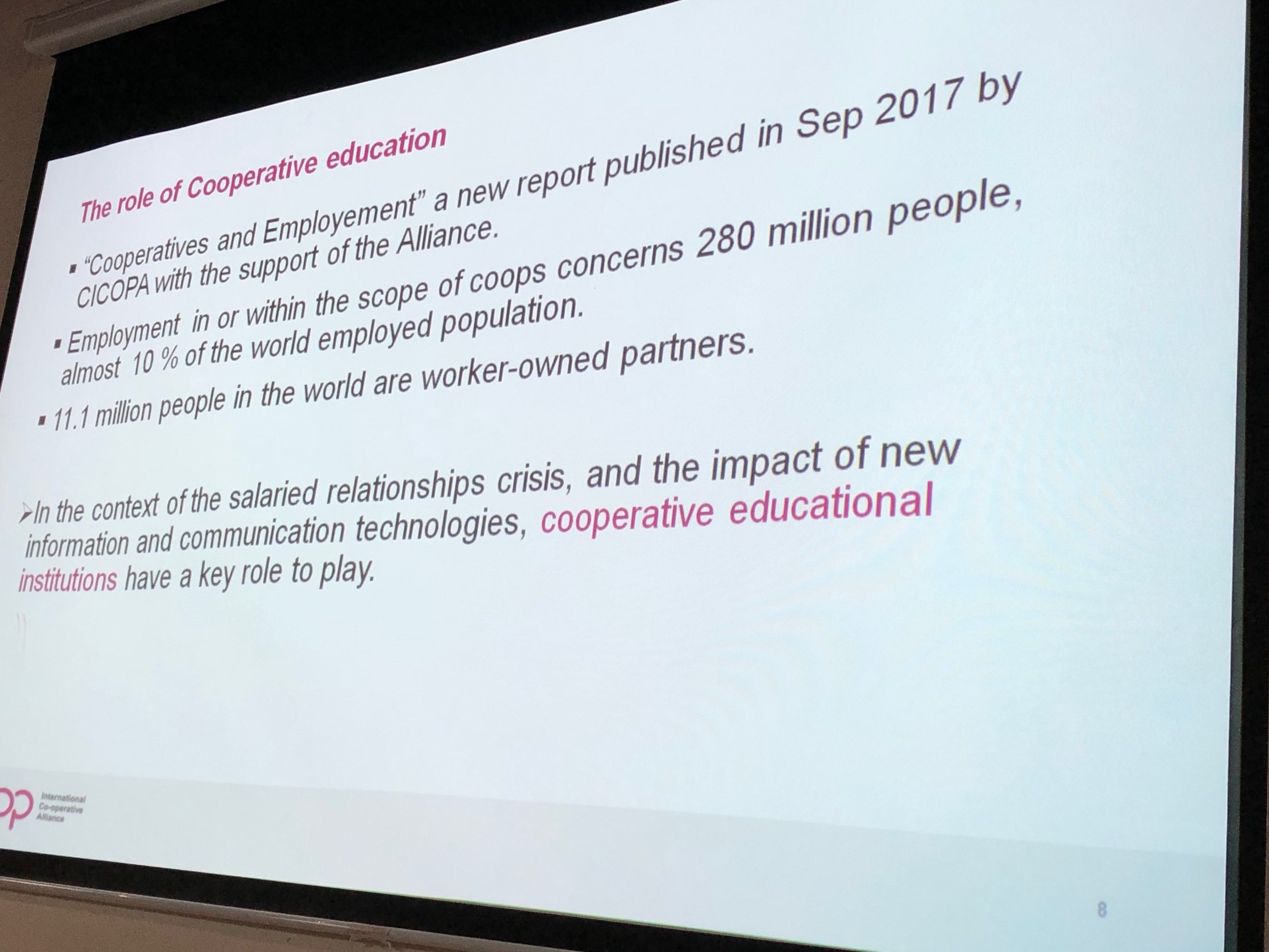 A slide about the role of co-operative education