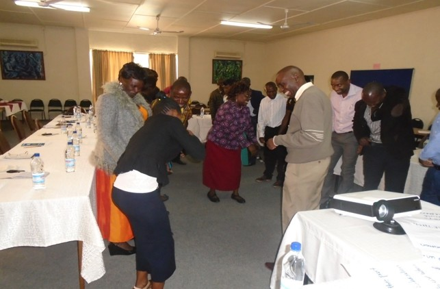 Group training activity in Zambia