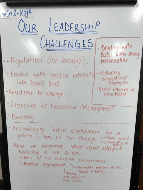 Flipchart with notes on leadership challenges