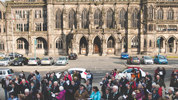 Rochdale town hall and people