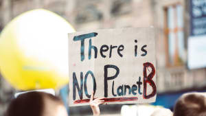 Climate change protester placard