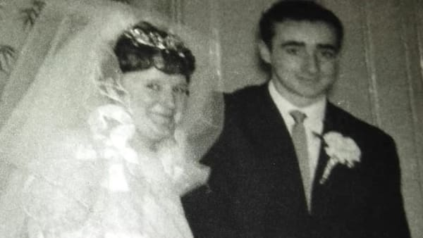 Kath and Stewart on their wedding day