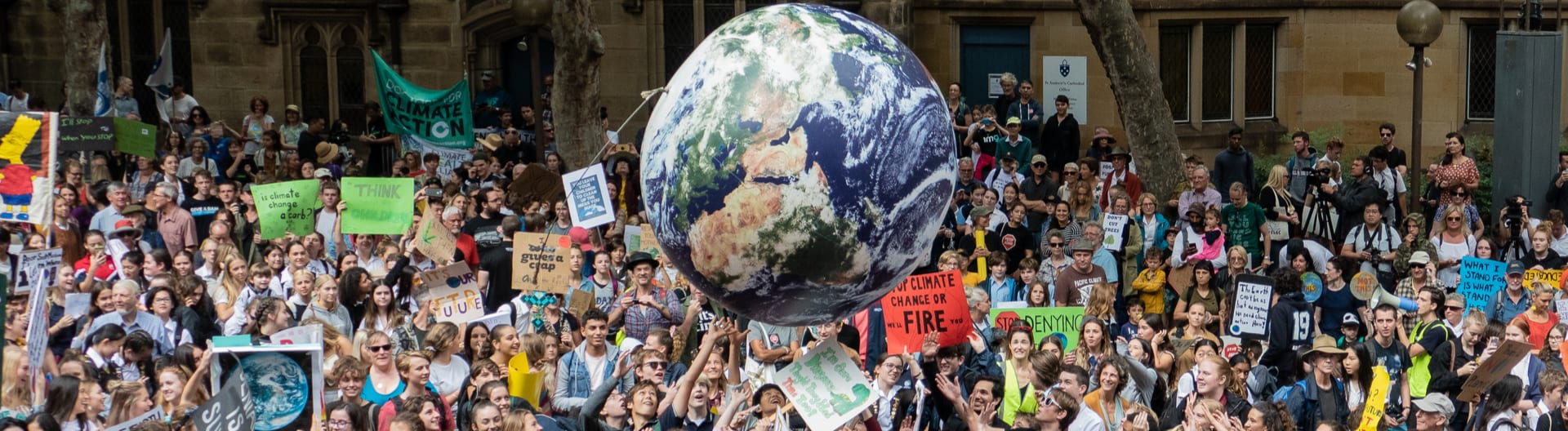 Climate change protest march